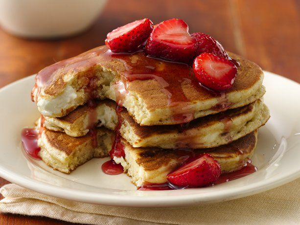 Cheesecake pancakes, so very yummy.  These are dense hearty pancakes.  I do not freeze my cream cheese.