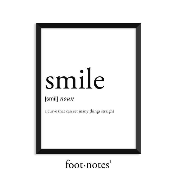 Smile definition, dictionary art print, college dorm decor, dictionary art, office decor, minimalist poster, funny definition