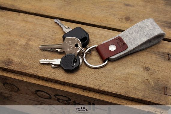 Keychain keyholder made from pure vegetable tanned leather and 100% Merino wool felt on Etsy, $11.63