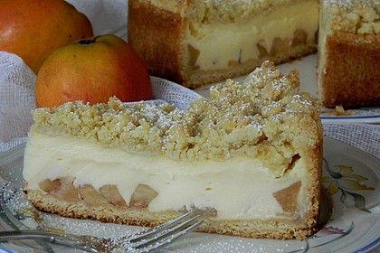 Torta de maçã com creme de baunilha e granulado   – Rezepte