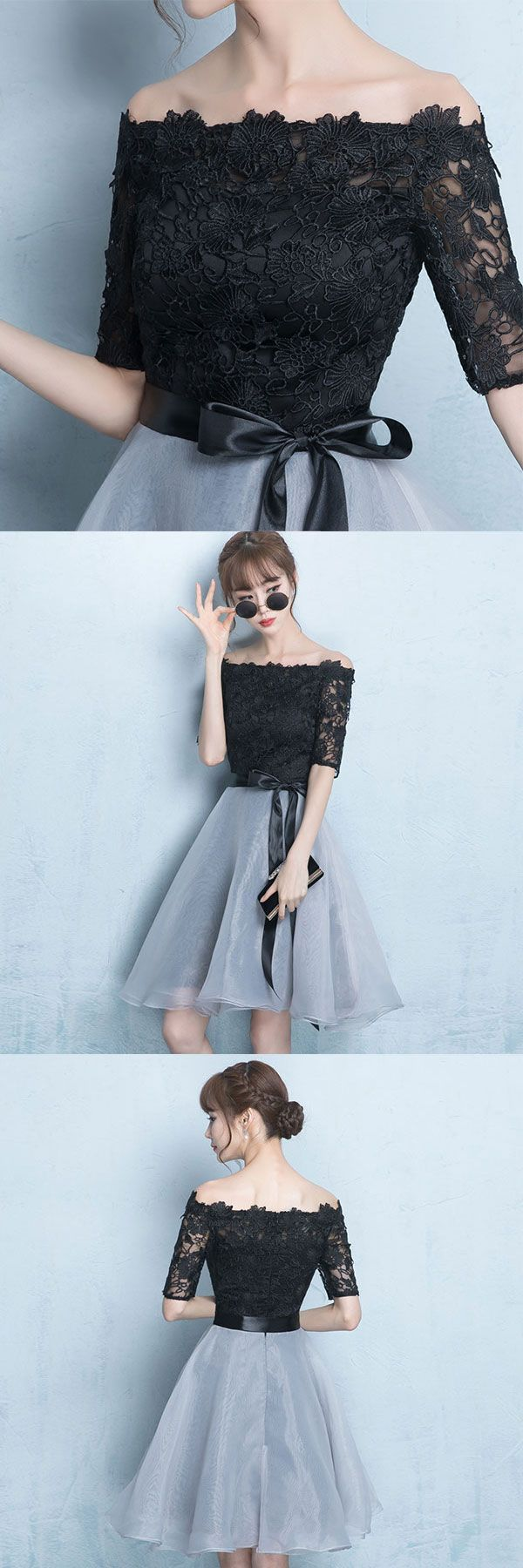 of girl | Black lace and gray tulle short prom dress, homecoming dress | Online Store Powered by Storenvy