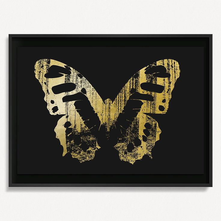 """Butterfly with Forest Wings 1 - Gold on Black - 36"""" H x 48"""" W Floated and Dry Mounted - Gold Leaf Foil on Fine Art Paper  Black - Wood Ash Frame #artsquaredinc #art #design #gold #goldleaf #artandnature #ButterflyForest #butterflyart"""