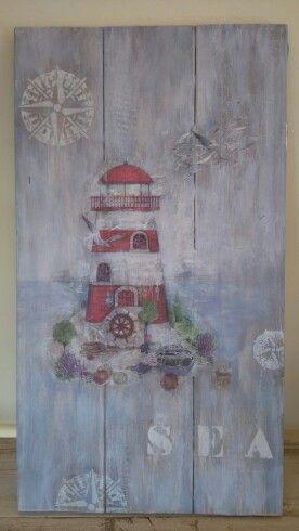 Cuadro con madera y decorades