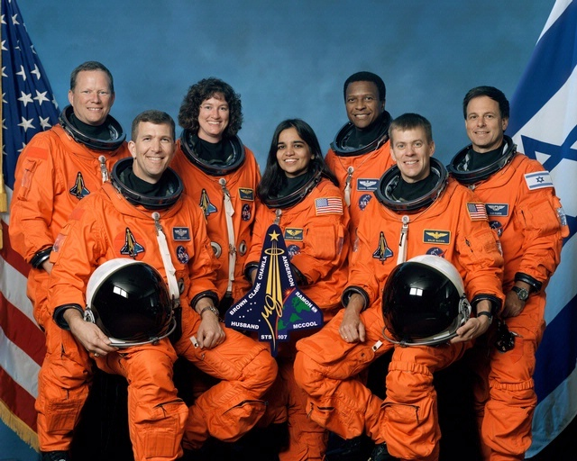 Remembering the crew of STS-107. On February 1, 2003, the seven-astronaut crew of STS-107 were lost when Space Shuttle Columbia broke apart during re-entry.  The crew of STS-107: David M. Brown, Rick D. Husband, Laurel B. Clark, Kalpana Chawla, Michael P. Anderson, William C. McCool, Ilan Ramon. Photo credit: NASA