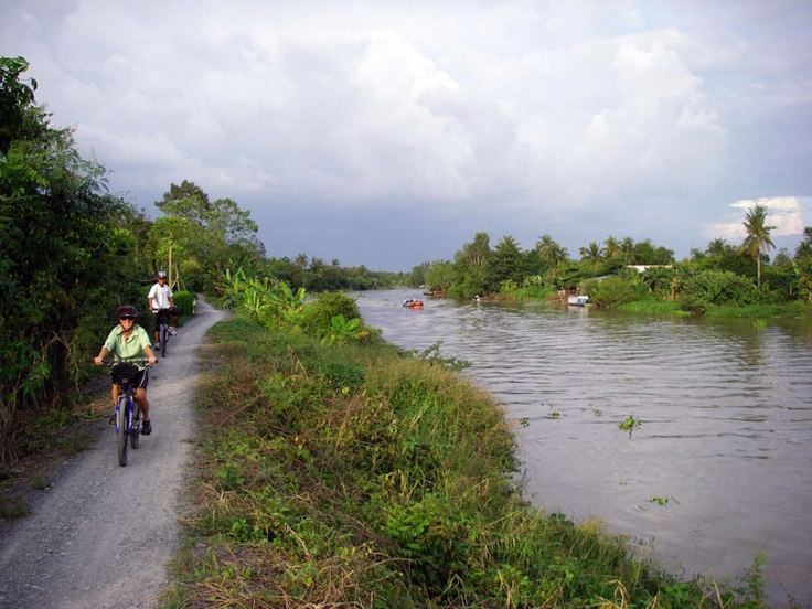 Cycle along the edge of the river in the Mekong Delta