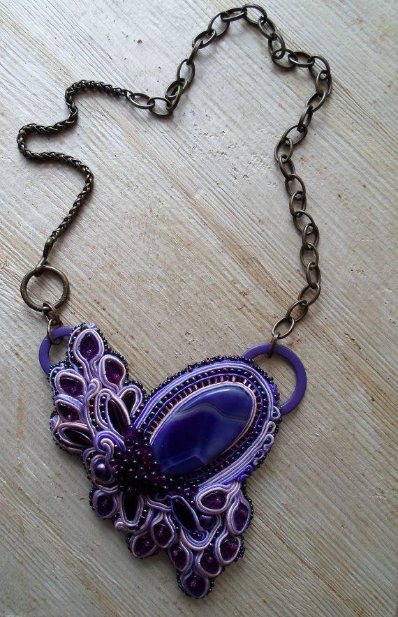 Handmade soutache necklace. Vegan by SoutacheShop