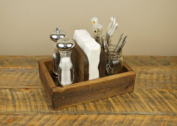 This rustic napkin holder is a handy place to store utensils, condiments and (you guessed it) napkins.