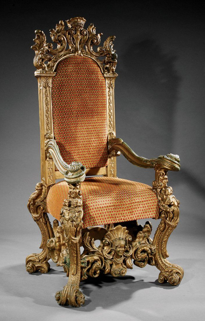 Stylish Recliner: A Monumental Italian Baroque-Style Carved Giltwood Throne
