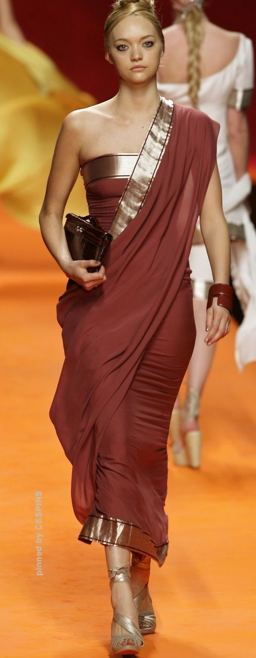 Hermès Spring 2008 - like the idea of a dress with drape so its more of a hint and less white girl in a sari