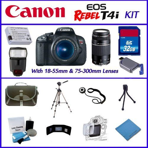 Canon EOS Rebel T4i 18MP - EF-S 18-55mm IS II - Canon EF 75-300mm f/4-5.6 III-32GB SDHC Memory Card - Digital Flash - Carrying Case - Lens Cleaner - Full Size and Mini Tripod - Plus Much More! by Canon. $969.95. This Kit Includes:  ~ Canon EOS Rebel T4i with 18-55mm IS II 3.5-4.6 Lens, Canon EF 75-300mm f/4-5.6 III, with standard accessories ~ Digital Flash  ~ Extra Battery ~ 32GB SDHC Memory Card ~Lens Cap Keeper ~ Deluxe DSLR Carrying Case  ~ Full Size Tripod  ~...