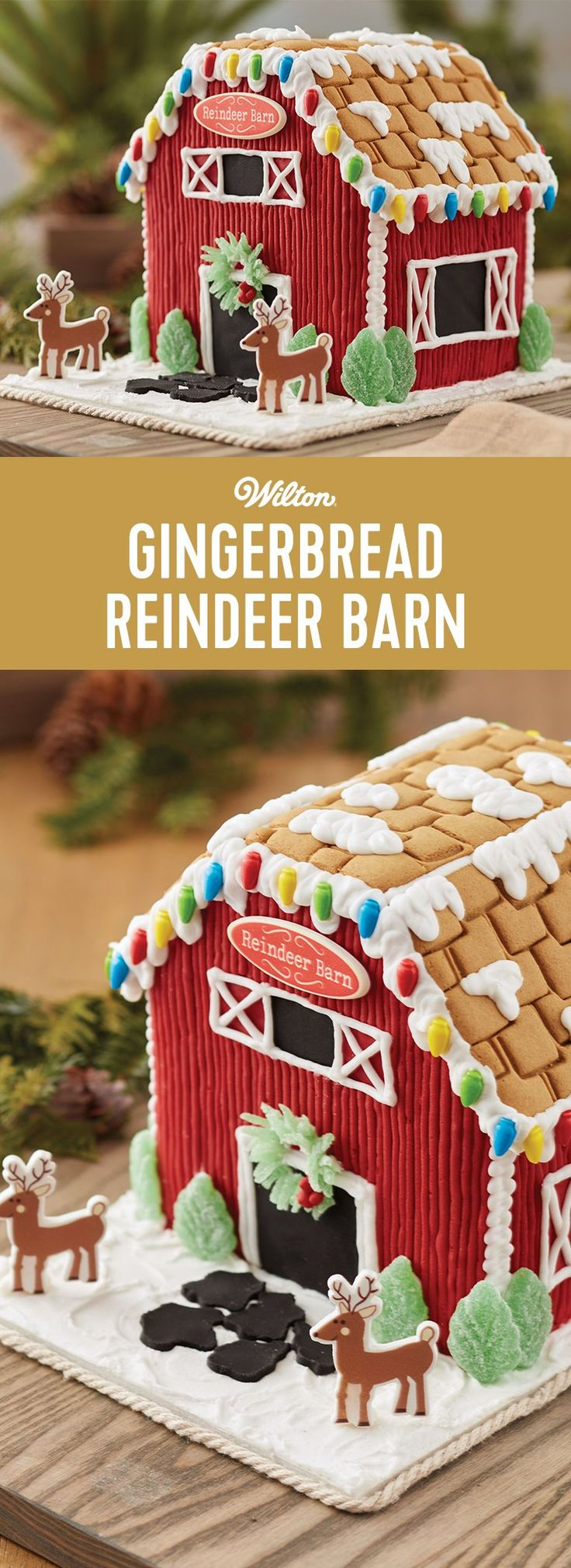 Santa's Reindeer Gingerbread Barn - Kids' will be thrilled to decorate this gingerbread reindeer barn. Candy, icing, and fondant add the color and fun. The reindeer and sign icing decorations add the holiday magic. After all, when there are reindeer around, Santa is sure to be watching! #gingerbreadhouse #christmas #wiltongingerbreadhouse #wiltoncakes