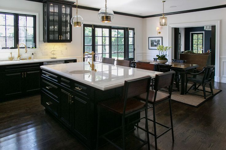 Amazing kitchen black cabinets glass cabinets white for Dark wood cabinets with dark countertops