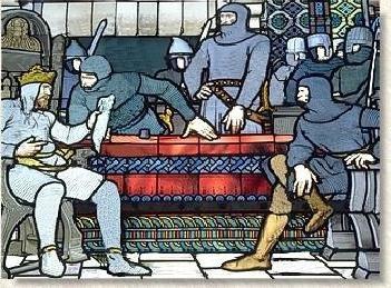 Conseil de guerre de Valenciennes. La France est partagée entre les coalisés.Cette scène représente l'état-major de la coalition réuni dans la grande salle du Château de la Salle-le-Comte à Valenciennes. Au mois de juillet 1224, Othon entrant en campagne, assembla son armée à Valenciennes.