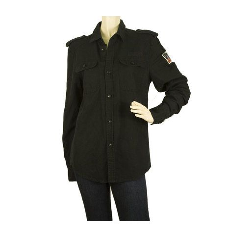 Zadig and Voltaire Military Army Canvas Button Down Shirt Jacket sz M