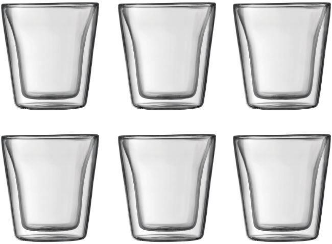 Bodum Canteen 0.1L set 6 stuks  Bodum Canteen 0.1L set 2 stuks: Dubbelwandige Bodum glazen (handgemaakt) Warme dranken blijven langer warm en koude dranken langer koud met deze dubbelwandige mondgeblazen glazen van Bodum! Zeer geschikt voor espresso waar in aardewerk kopjes door de temperatuur van het materiaal veel hitte verloren gaat zorgt je Bodum Canteen glas ervoor dat de hitte behouden blijft. De Bodum Canteen 01 liter glazen zijn vaatwasserbestendig. Hoogte 7.3 cm en diameter 7.2 cm…