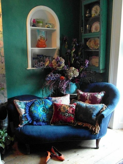 ⋴⍕ Boho Decor Bliss ⍕⋼ bright gypsy color & hippie bohemian mixed pattern home decorating ideas - blue chair with green walls by april
