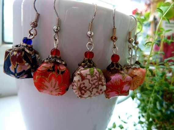 Origami Lantern earrings Lampion dangling earrings by MarysaArt