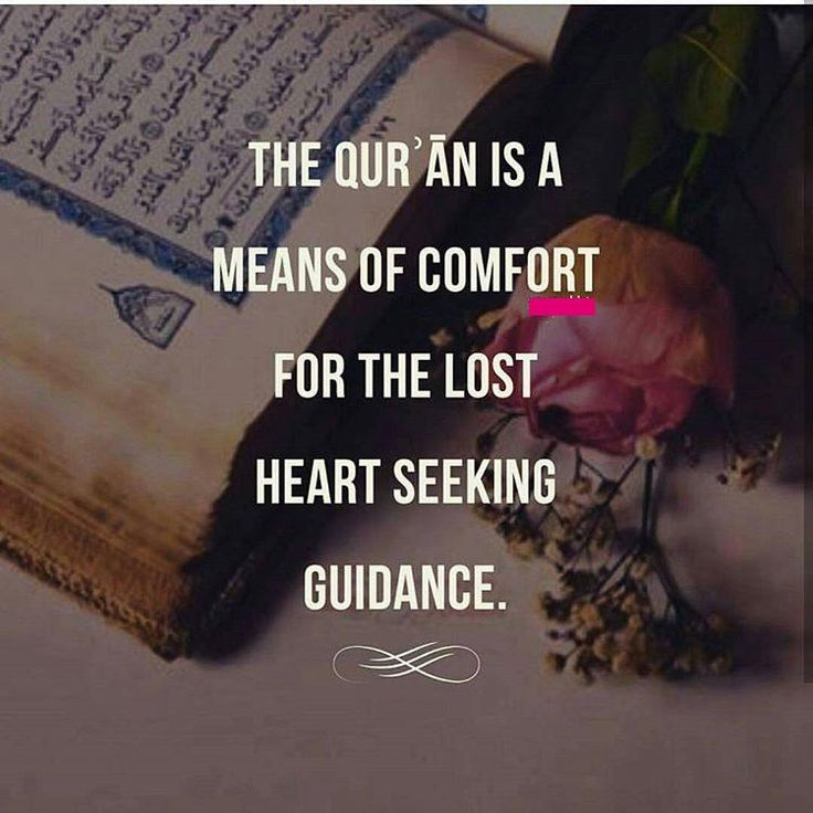 The heart is comforted by true words (Quran) just a thirsty man is comforted by…