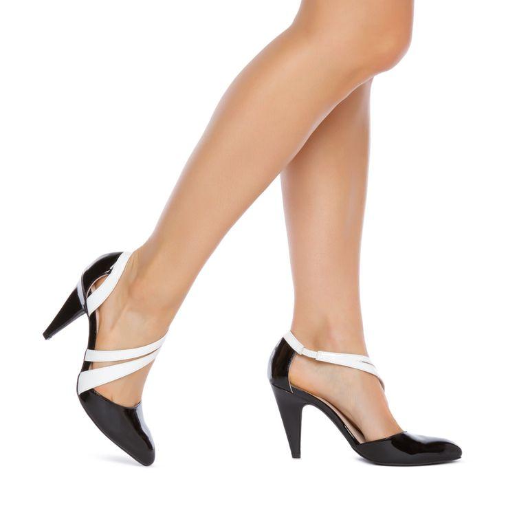 Black White Heels Shoes