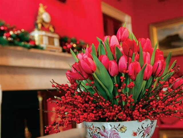 Holiday red floral arrangement
