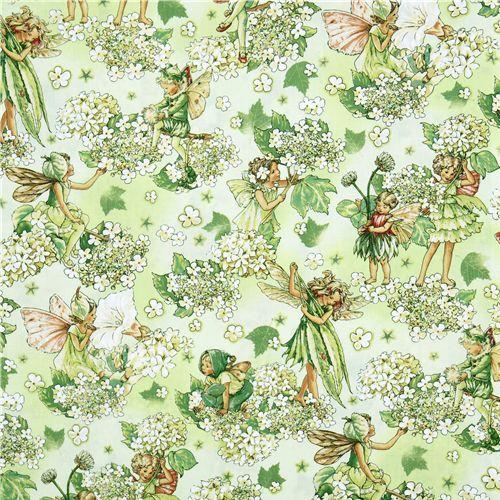 preciosa tela verde con hadas de las flores y flores blancas, producto de EEUU