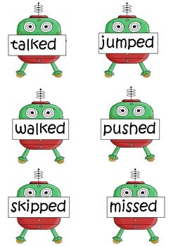 This is a word sort for words with the -ed ending and the 3 different sounds they make (/d/, /t/, /ed/). Each past tense verb word is on an alien r...