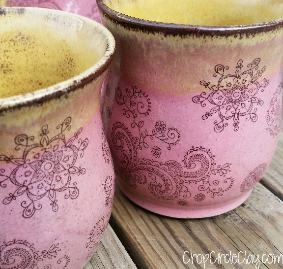 Handmade stoneware pottery cups Henna Tattoo Mehndi Henna doodle flowers Pink Brown Buttercream Boho tumbler bourbon cup vessel drinkware by CropCircleClay on Etsy