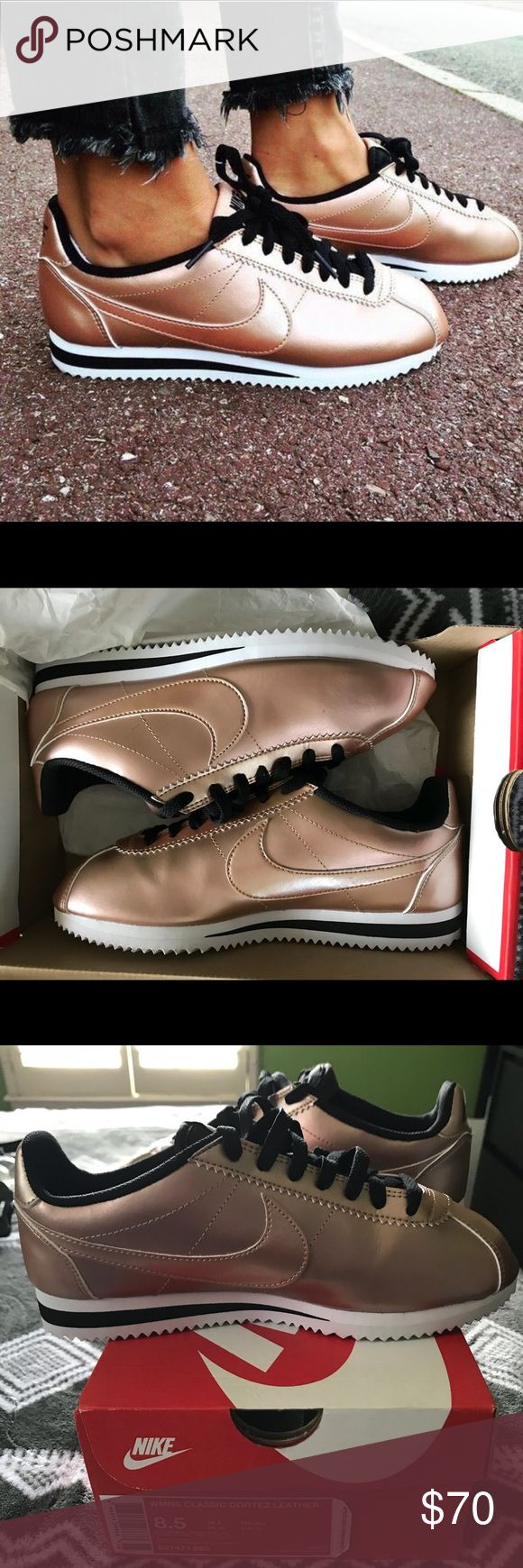 NIKE CORTEZ ROSE GOLD NIKE CORTEZ  CLEAN! WORN ONCE! LIKE NEW! SOLD OUT IN STORES!!!! EXTREMELY LIGHTWEIGHT NIKE CORTEZ KNOWN FOR THEIR UNBEATABLE COMFORT! ADD STYLE TO ANY OUTFIT WITH THIS CLASSIC RUNNING SHOE! Nike Shoes