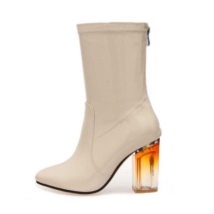 Günstige Lackleder transparent platz heel frauen Mittler kalb stiefel  Frauen Winter Stiefel Plateauschuhe Frau Schwarze Stiefel