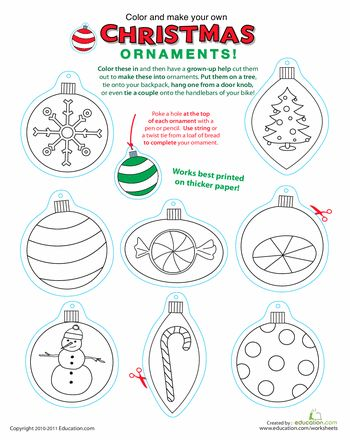 Worksheets: Printable Christmas Ornaments (print on shrinky dinks for the boys to color?)