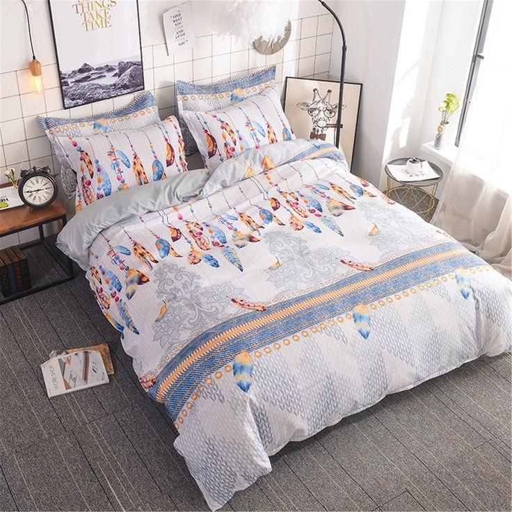 Bohemian Feather Duvet Cover Set White Paisley Quilt Comforter Etsy Duvet Cover Sets Feather Duvet Comforter Cover