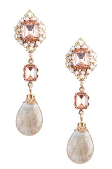 These stunning rose colored earrings would be perfect for a garden bride.