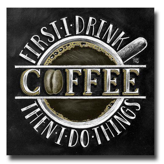 Kaffee Zeichen, Kaffee-Dekor, Tafel Kunst, Kreide Kunst, Kaffee-Liebhaber-Geschenk, Kaffee Kunstdruck, Küche Print, Küchenkunst, Kaffee-Bar zu unterzeichnen