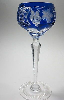 Ajka crystal 24% lead blue cased hock glass Marsala grapes