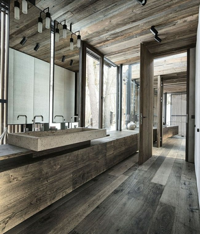 Badezimmer Holz Boden Belag Badmöbel Spiegel