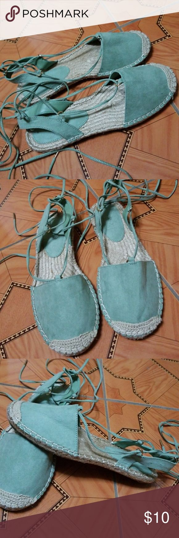 OLIVE GREEN ESPADRILLE SANDLES NEVER WORN. Espadrille style sandal. Tie up around the ankle. Up to offers :) Forever 21 Shoes Sandals