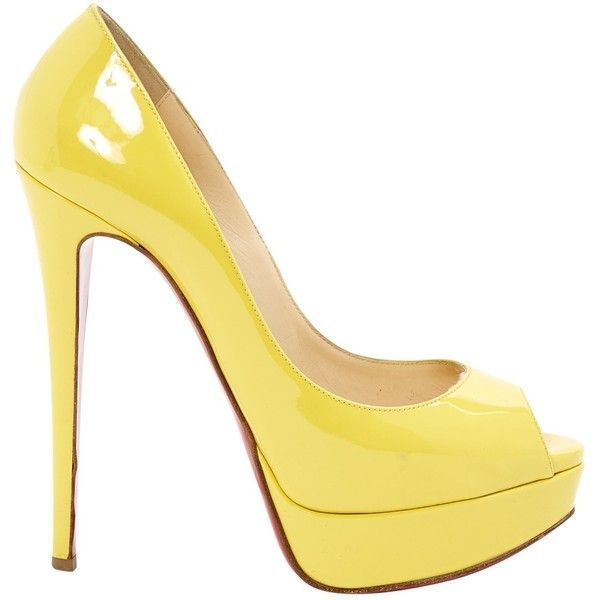 Pre-owned Christian Louboutin Patent Leather Heels ($395) ❤ liked on Polyvore featuring shoes, pumps, heels, louboutin, yellow, yellow heels pumps, christian louboutin, pre owned shoes, yellow pumps and yellow heeled shoes