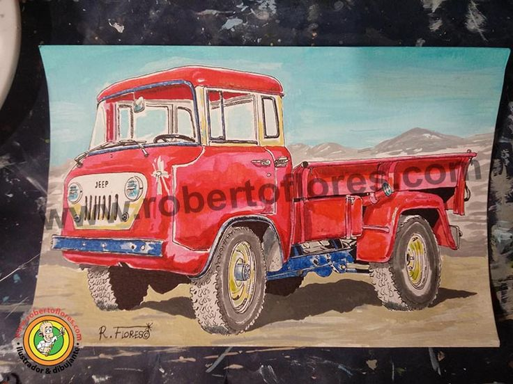 Collor #illustration, drawn with #pencil, #acrylics and #markers, of the  #jeep Forward Control or FC. This was a a truck made by Willys and then Kaiser Jeep, during #1950s and #1960s. Also, it was made at another countries by companies as Mahindra from India.