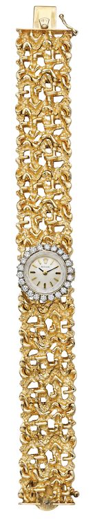 A Diamond and Gold Lady's Rolex. Quartz movement, the circular white dial with gold hands within a circular-cut diamond surround. Textured gold link band, mounted in 14K yellow gold, length 7 inches. Signed 'Rolex'.