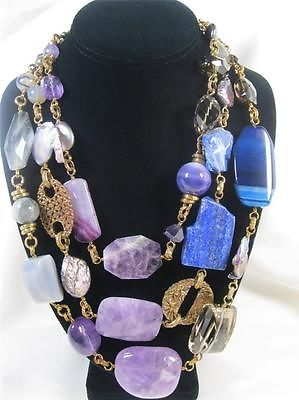 Authentic Stephen Dweck Lapis Amethyst Topaz Gemstone Beaded Bronzed Necklace