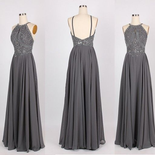 Grey Prom Dress, Backless Prom Dress,Chiffon Prom Dress,Floor Length Prom Dresses,Prom Dress 2016