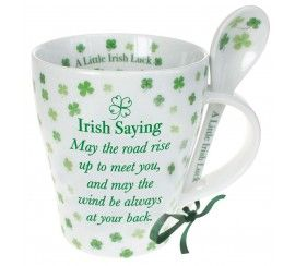 Irish Mug and Spoon Set, Four Leaf Clover and Irish Saying