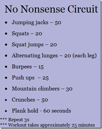 FIVE great At Home Workouts - no fancy equipment or weights required