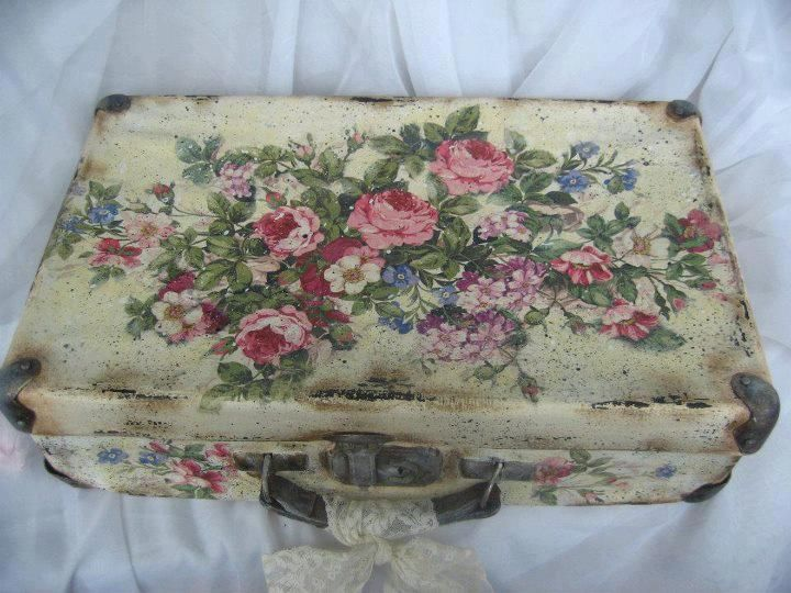 IDEA - Suitcase spray painted and then decoupaged