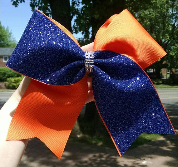 Orange and Blue Cheer bow orange softball bow by CraftyOhBows