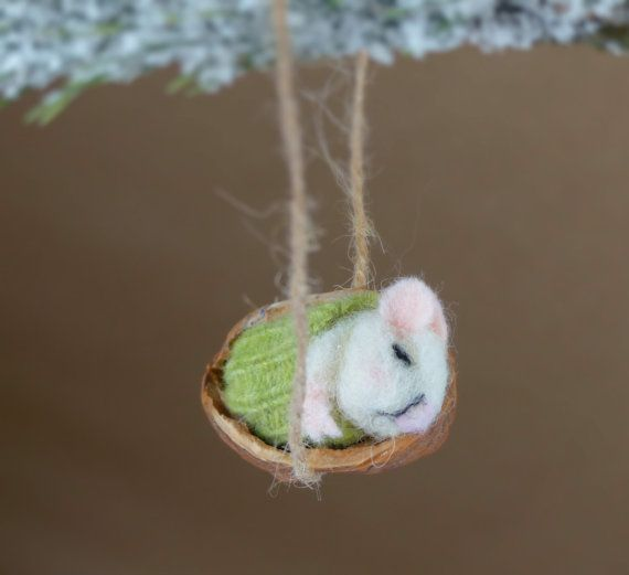Sleeping mouse in a walnut shell Needle felted ornament Gift