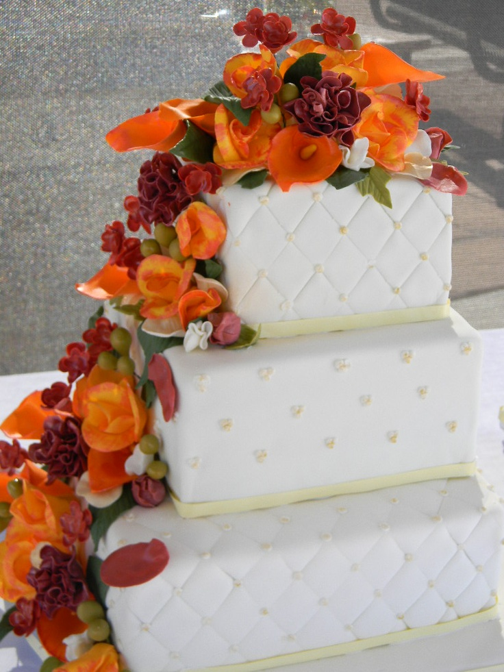 square wedding cakes with fall flowers fall flowers square wedding cake wedding cake ideas 20419
