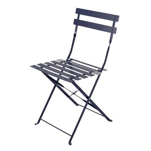 2 chaises pliantes de jardin en métal bleues