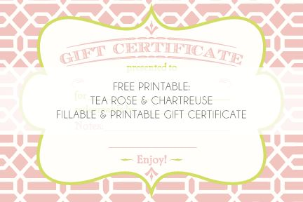 Gorgeous free printable for a Gift Certificate.