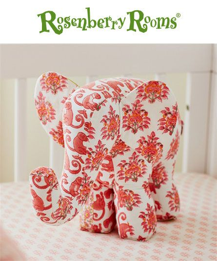 The Lali Pink Elephant Accent Pillow from Rikshaw Design makes an adorable room accessory or stuffed toy for your little one!  Coordinates with Rikshaw Design bedding collections!